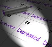 Depressed Calendar Displays Discouraged Despondent Or Mentally I — Stock Photo
