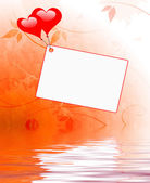 Heart Balloons On Note Displays Wedding Invitation Or Love Lette — Stock Photo