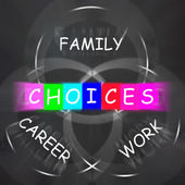 Words Displays Choices of Family Career and Work — Stock Photo