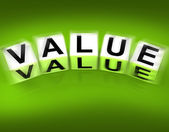 Value Blocks Displays Importance Significance and Worth — Stock Photo