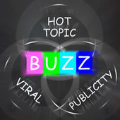 Buzz Words Displays Publicity and Viral Hot Topic — Stock Photo