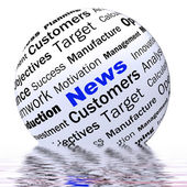 News Sphere Definition Displays Global Headlines Or Internationa — Stock Photo