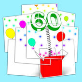 Number Sixty Surprise Box Displays Elderly Surprise Party Or Cel — Stock Photo