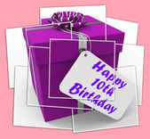 Happy 10th Birthday Gift Displays Congratulations Age Ten — Stock Photo