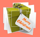 Merry Christmas Gift Displays Xmas And Seasons Greetings — Stock Photo