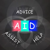 Supportive Words Displays Advice Assist Help and Aid — Stock Photo