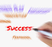 Success on whiteboard Displays Successful Solutions and Accompli — Stock Photo