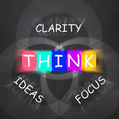 Words Displays Clarity of Ideas Thinking and Focus — Stock Photo