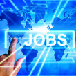 Jobs Map Displays Worldwide or Internet Career Searching — Stock Photo