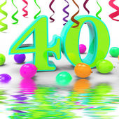 Number Forty Party Displays Colourful Party Decorations Or Brigh — Stock Photo
