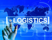 Logistics Map Displays Logistical Strategies and International P — Stock Photo