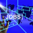 Jobs Screen Represents Worldwide or Internet Career Search — Stock Photo