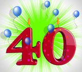 Number Forty Party Show Party Decorations Or Birthday Cake — Zdjęcie stockowe