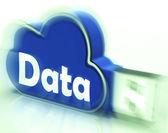 Data Cloud USB drive Shows Digital Files And Dataflow — Stock Photo
