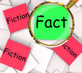 Fact Fiction Post-It Papers Show Factual Or Untrue — Stock Photo