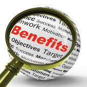 Benefits Magnifier Definition Means Advantages Or Monetary Bonus — Stock Photo