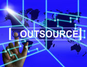 Outsource Screen Means International Subcontracting or Outsourci — 图库照片
