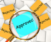 Approved Rejected Post-It Papers Shows Accepted Or Refused — Stock Photo