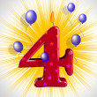 Number Four Party Means Wax Cake Candle Or Birthday Candle — Foto Stock #47475301
