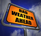 Bad Weather Ahead Signpost Shows Dangerous Prediction — 图库照片
