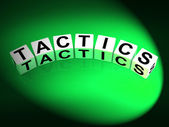 Tactics Dice Show Strategy Approach and Technique — Stock Photo