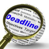 Deadline Magnifier Definition Means Job Time Limit Or Finish Dat — Stock fotografie