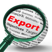 Export Magnifier Definition Shows Abroad Selling And Exportation — Stock Photo