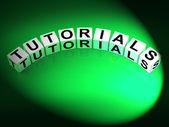 Tutorials Dice Refer to Tutoring Teaching and Training — Zdjęcie stockowe