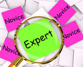 Expert Novice Post-It Papers Mean Experienced Or Inexperienced — Stock Photo
