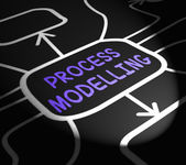 Process Modelling Arrows Shows Illustration Of Business Processe — Stock Photo