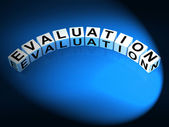 Evaluation Letters Show Judgement Assessment And Review — Stock Photo