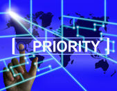 Priority Screen Shows Superiority or Preference in Importance Wo — Stock Photo