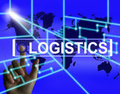 Logistics Screen Indicates Logistical Strategies and Internation — Stock Photo