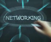 Netzwerk-diagramm bedeutet, dass die kontakte und verbindungen — Stockfoto