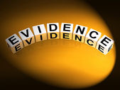 Evidence Dice Represent Evidential Substantiation and Proof — Stock Photo