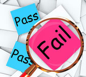 Pass Fail Post-It Papers Mean Satisfactory Or Declined — Stock Photo