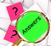 Questions Answers Post-It Papers Show Questioning And Explanatio — Stock Photo