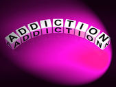 Addiction Dice Represent Obsession Dependence and Cravings — Stock Photo