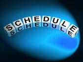 Schedule Dice Mean Program Itinerary and Organize Agenda — Stock Photo