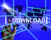 Download Screen Shows Downloads Downloading and Internet Transfe — Stock Photo