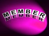 Lid dobbelstenen tonen abonnement registratie en lidmaatschap — Stockfoto