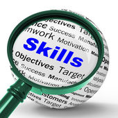 Skills Magnifier Definition Means Special Abilities Or Aptitudes — Stock Photo