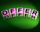 Offer Dice Mean Promote Propose and Submit — Foto de Stock