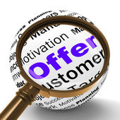 Offer Magnifier Definition Shows Special Prices Or Promotions — Stock Photo