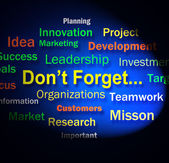 Dont Forget Words Shows Remembering Business Components — Stock Photo