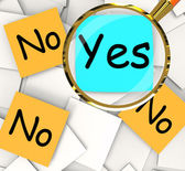 Yes No Post-It Papers Mean Positive Or Negative Response — Stock Photo