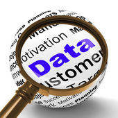 Data Magnifier Definition Means Digital Information Or Database — Stock Photo