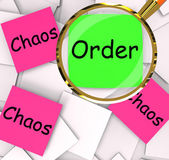 Order Chaos Post-It Papers Mean Orderly Or Chaotic — Stock Photo