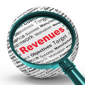 Revenues Magnifier Definitions Shows Financial Growth Or Improve — Stock Photo