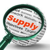 Supply Magnifier Definition Shows Goods Provision Or Product Dem — Stock Photo